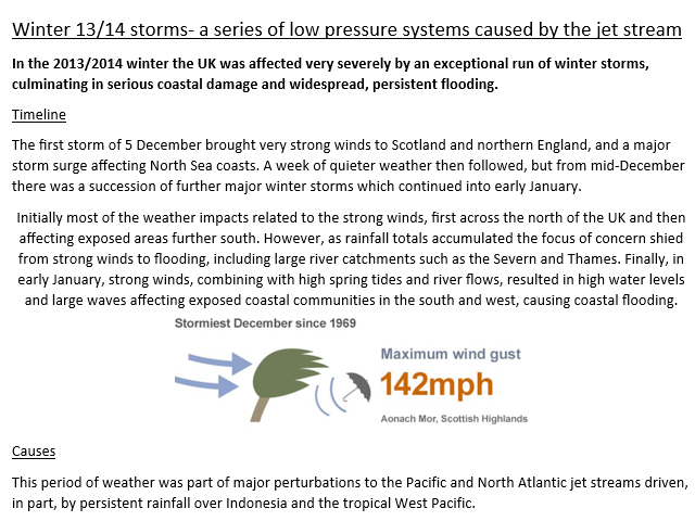 Winter storms of 2013-2014  GCSE/ A level Geography case study