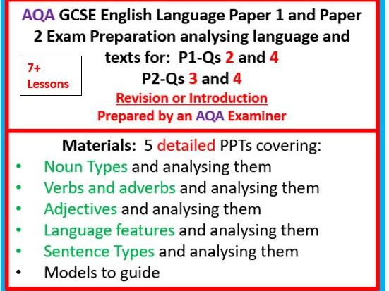 AQA GCSE English Language Paper 1 and Paper 2  Language Questions and both Q4s