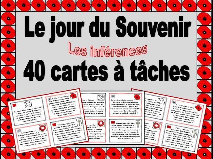 French Remembrance Day Vocabulary Inference Task Cards