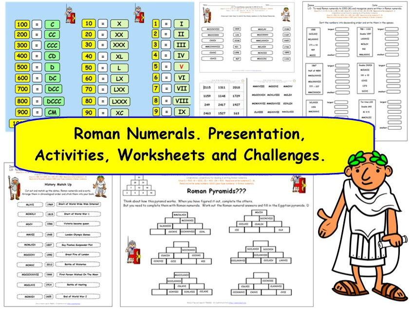KS2 Y5 Roman Numerals.  Worksheets. Short Presentation. 54 Flip Cards.