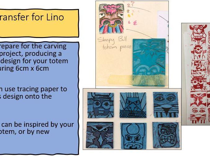 Indigenous Artwork; Totem Poles, drawing, lino printing and collage