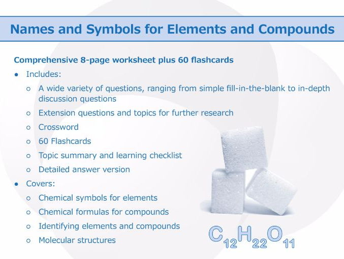 Names and symbols for elements and compounds worksheet and cover image urtaz Images