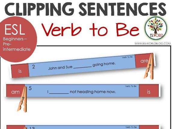 Sentence Clip Cards Verb to Be