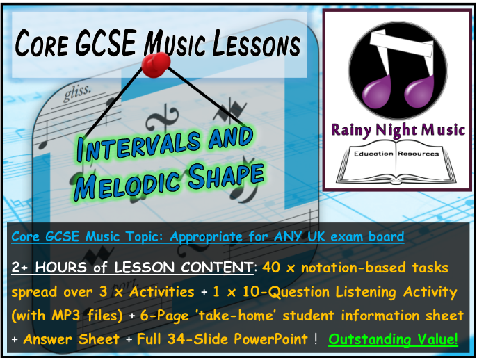 GCSE Music INTERVALS and MELODIC SHAPE Whole Topic