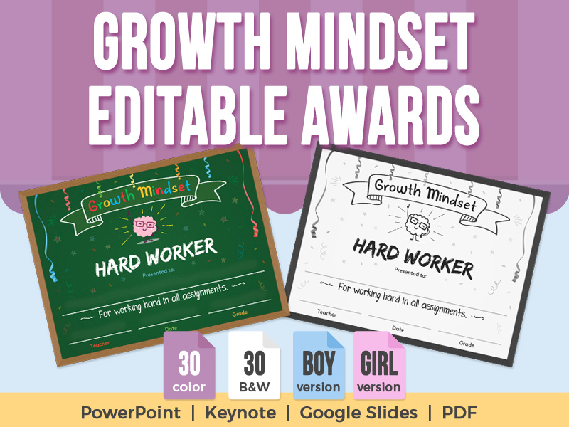 Growth Mindset - Editable Awards