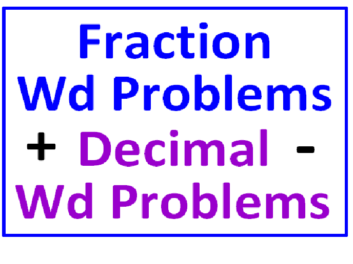 Fraction Word Problems A & S PLUS Decimal Word Problems A & S (Both Sets)
