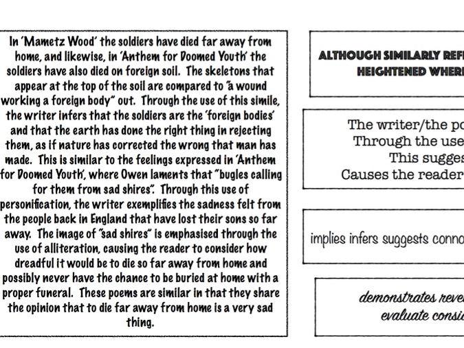 Example poetry comparison analysis