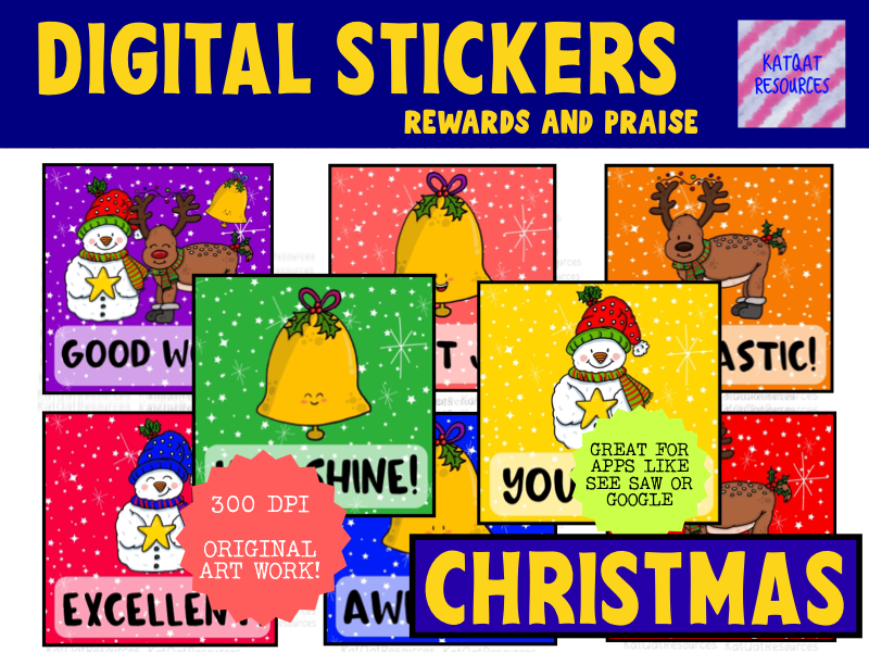Digital Stickers - Cute Christmas - For Seesaw or Google Classroom