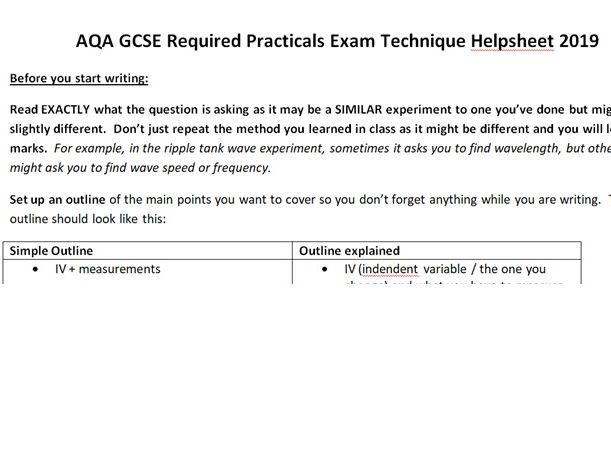 AQA GCSE (Trilogy / Separate) Required Practicals Exam Technique Helpsheet