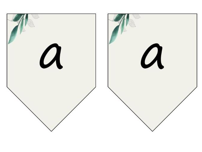 Class Display Bunting Headings Titles Signs Natural Green Leaf Theme