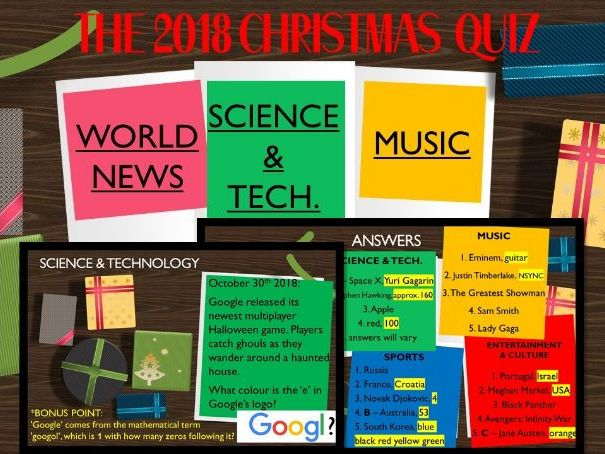 2018 - End of Year Christmas Quiz - Game