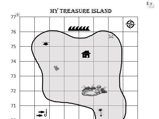 4 and 6 figure grid references. 'My Treasure Island'