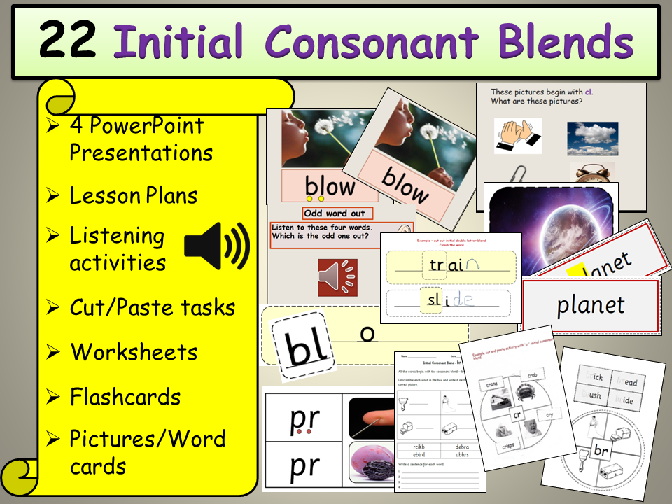 Phonics: Initial Consonant Blends Presentations, Plans, Listening (Audio), Worksheets/Activities