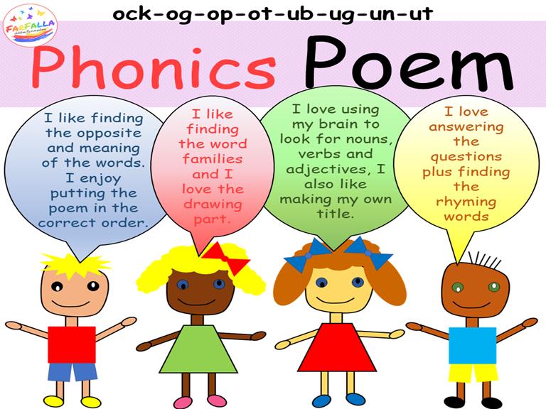 Poem Activities - Word family ock-og-op-ot-ub-ug-un-ut - Vocabulary - Grammar