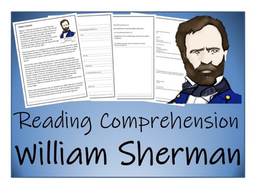 UKS2 History - William Sherman Reading Comprehension Activity