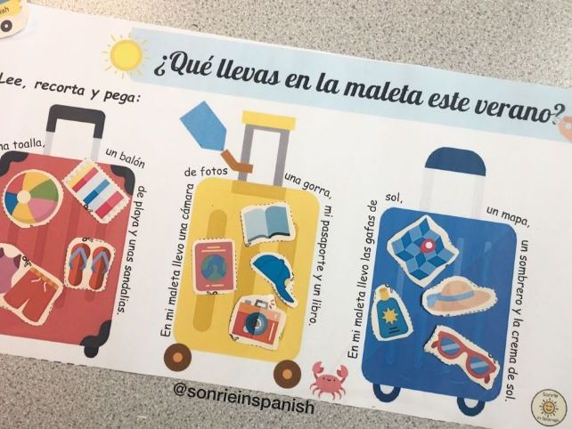 Spanish summer holidays - la maleta worksheet - las vacaciones de verano - holiday items - homework
