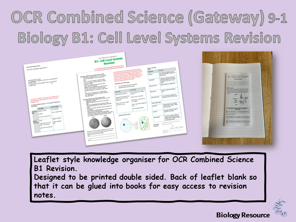 OCR B1.1: Cell Level Systems Revision Knowledge Organiser (Leaftet)