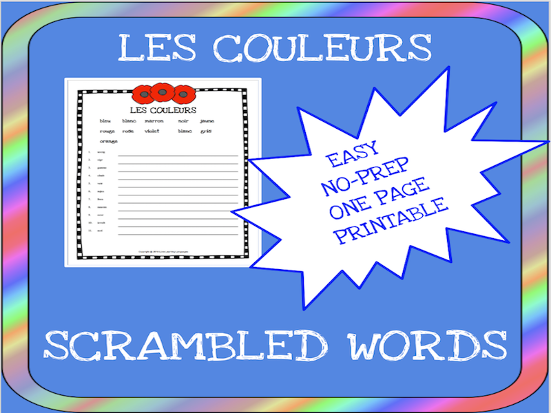 French colors scrambled words worksheet - Les couleurs