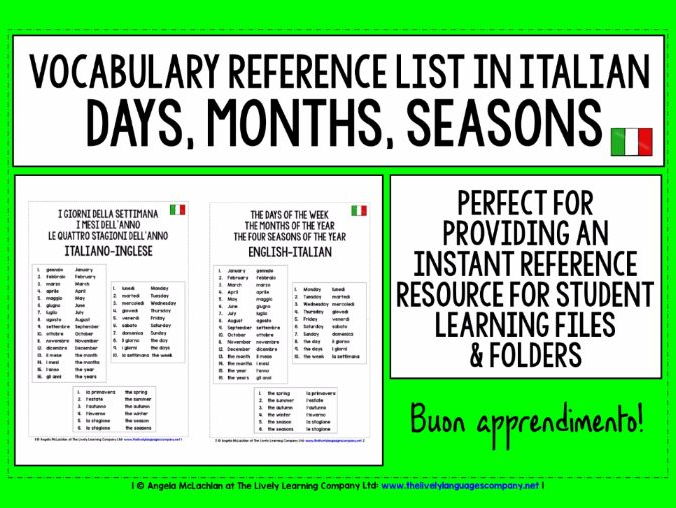 ITALIAN VOCABULARY REFERENCE LIST - DAYS, MONTHS, SEASONS