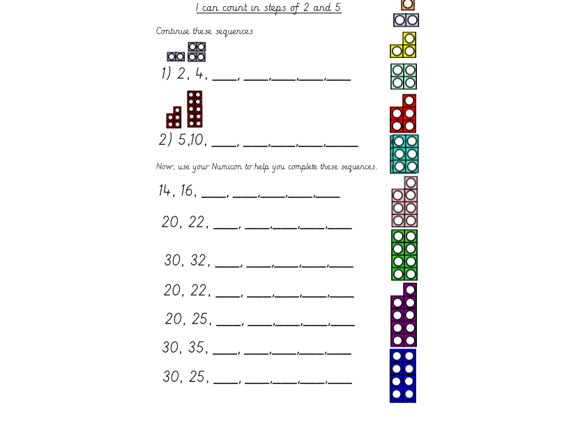Numicon Counting in Multiples of 2 and 5