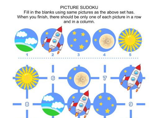 Picture Sudoku Puzzle, Space Exploration Themed