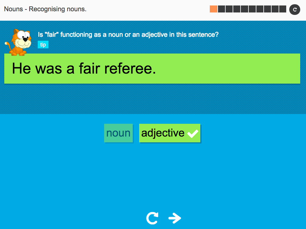 Recognising nouns - Interactive Activity - KS3 Spag