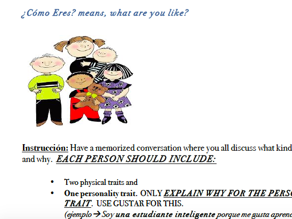 What are you like? Speaking Activity (Spanish)