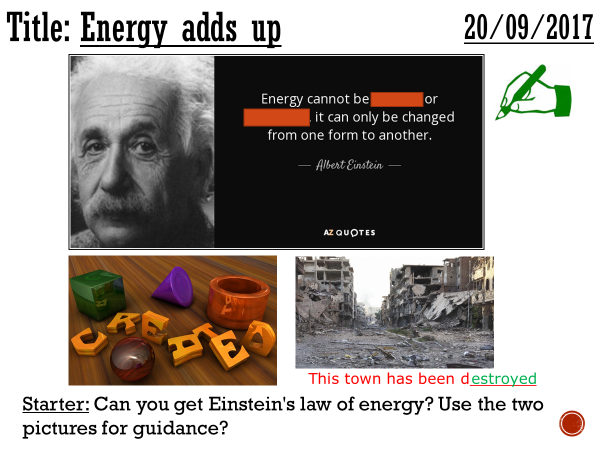 Energy adds up - complete lesson (KS3)