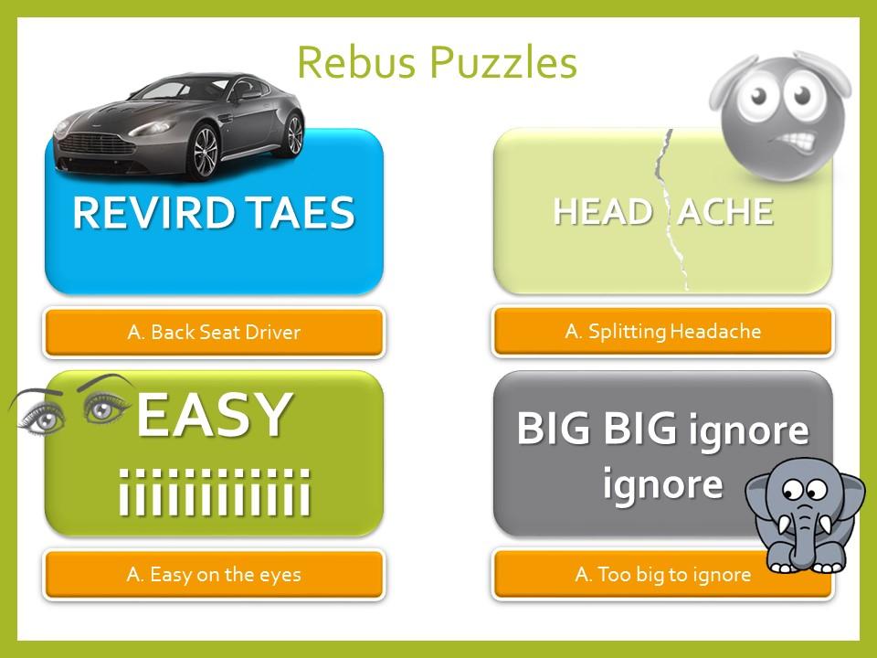 Fun Picture Rebus Puzzle Starter Activity