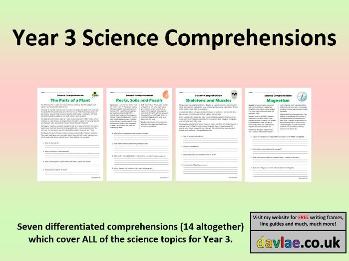 Science Comprehensions Year 3