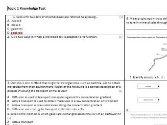 Edexcel CB3 Biology Knowledge Assessment
