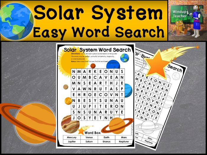 Solar System Word Search | EASY Puzzle