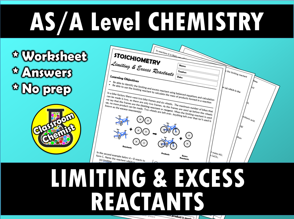 Stoichiometry - Limiting and Excess Reactants worksheet