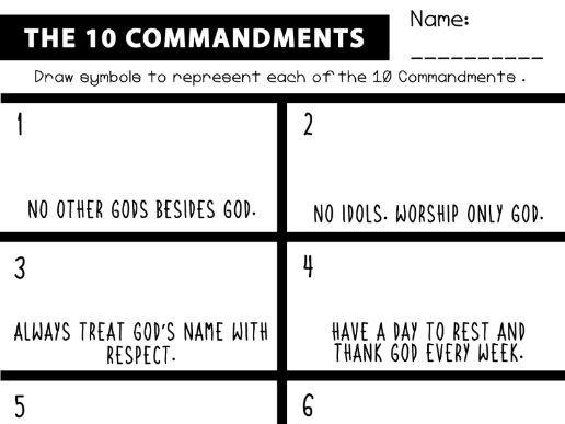 The Ten Commandments: The Meaning Symbols Activity Sheet