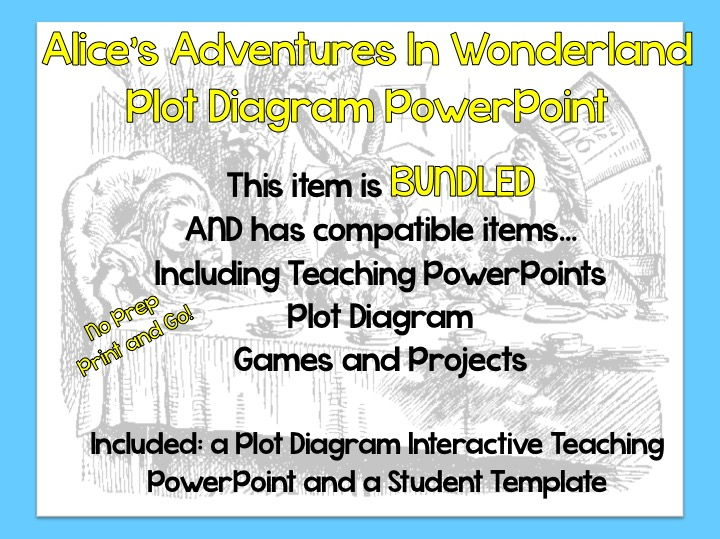 """Alice's Adventures in Wonderland Plot Diagram Teaching PowerPoint and Student Template"