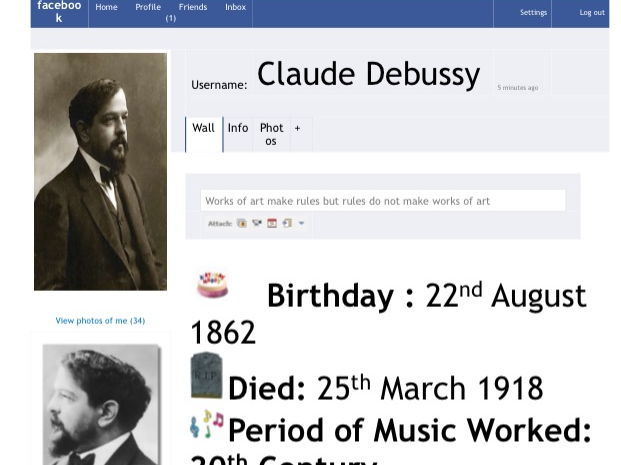 Facebook Profiles for Composers Wall Display