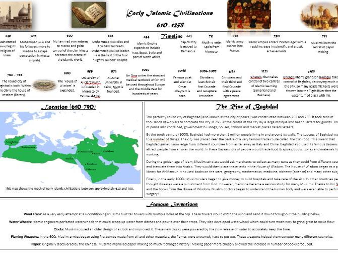 Early Islamic Civilisations Fact File
