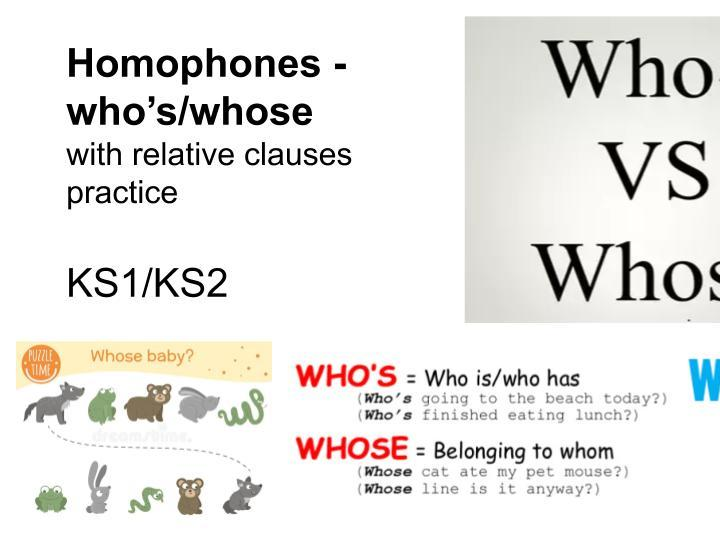Homophones who's/whose for KS1/KS2 with relative clauses practice