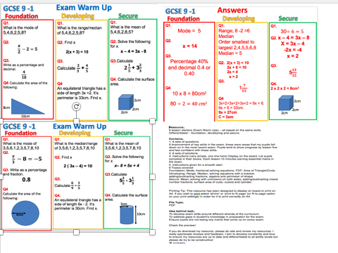 GCSE 9 - 1; Exam Warm Up (Mixed GCSE Skills)