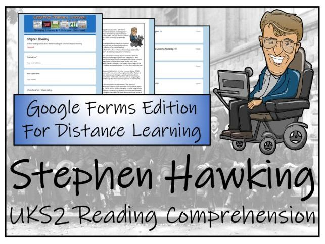 UKS2 Stephen Hawking Reading Comprehension & Distance Learning Activity