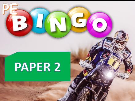 GCSE PE Edexcel - Paper 2 Bingo