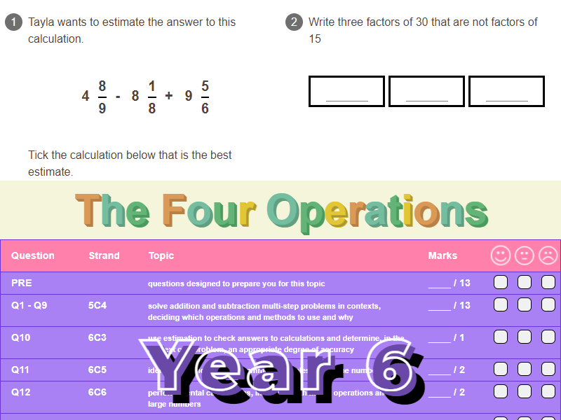 The Four Operations Worksheet + Answers (KS2 - Year 6)