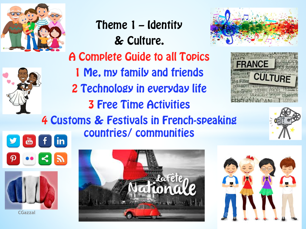 French GCSE New Specifications. A Resource Bundle to cover all of Theme 1 – Identity & Culture, Topics 1-4.