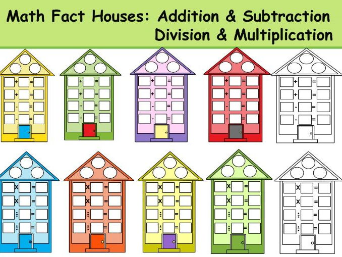 Math Fact Houses Clipart: Addition & Subtraction, Division & Multiplication
