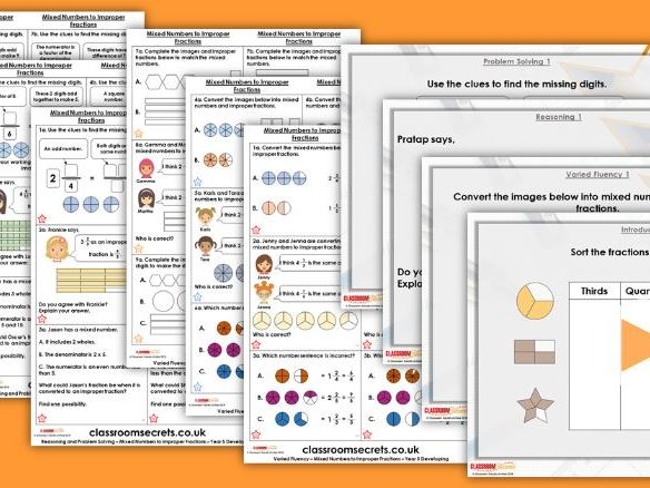 Year 5 Mixed Numbers to Improper Fractions Spring Block 2 Step 3 Maths Lesson Pack