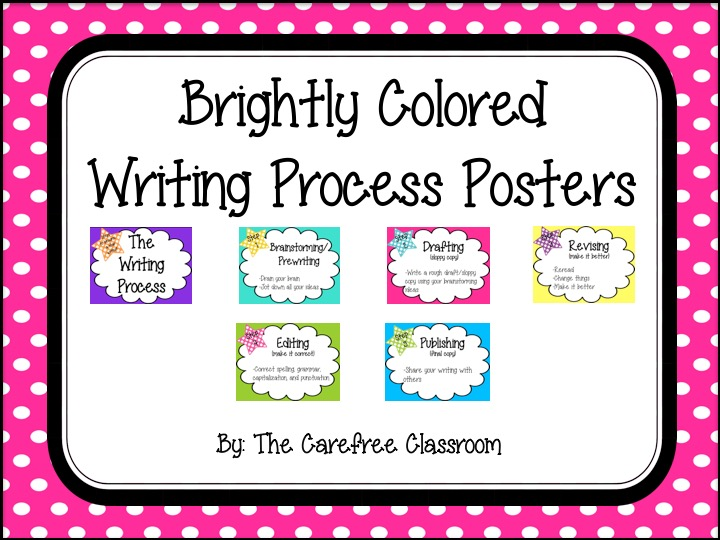 Writing Process Posters: Bright Colored