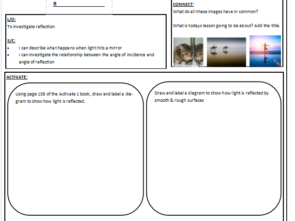 Year 7 reflection worksheet (Activate textbook)