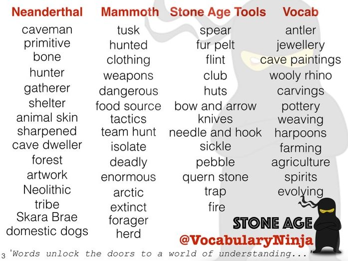 Stone Age Topic Vocabulary Pack