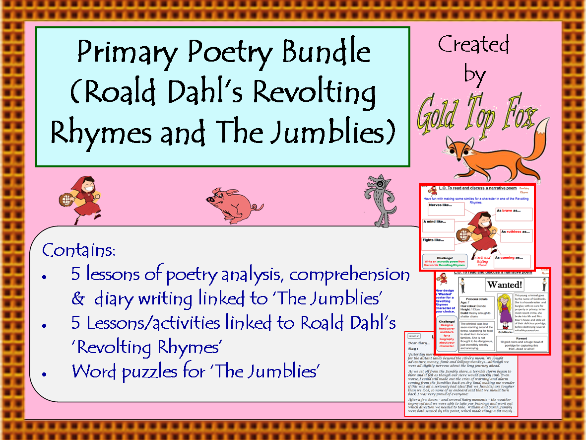 Workbooks the twits worksheets ks2 : Primary Poetry bundle (The Jumblies and Roald Dahl's Revolting ...