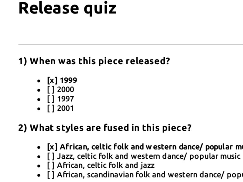 Edexcel GCSE music focus work multiple choice quizzes
